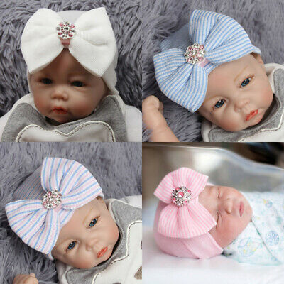 Baby Girls Infant Knitted Soft Hat with Chiffon Bow Tie Cap Striped