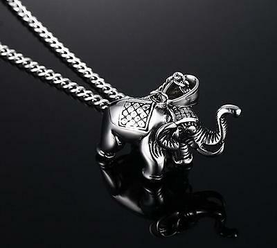 Biker  elephant Pendant Stainless Steel Men's Fashion Necklace chain 20''