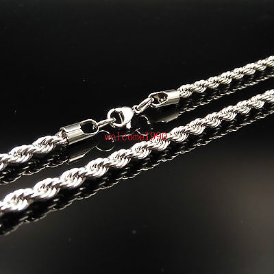 30'' silver Stainless Steel 5mm Huge Fashion Rope chain Necklace Men's Gifts