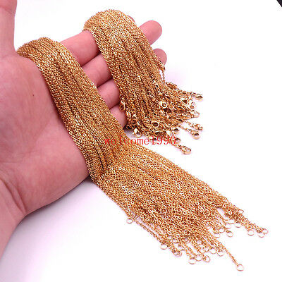 20pcs/ 100pcs Lot Gold stainless steel joint Oval Chain Link Necklace Thin 2mm