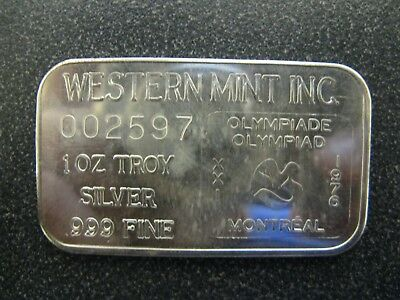 1976 Montreal Olympic Hudson Bay Western Mint 999 Silver Bar - Low mintage