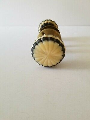 Vintage Door Knob Set Brass & Soapstone Blue & Cream colors Parachute Design