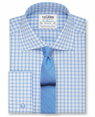 T.M.Lewin Regular Fit Blue Check Double Cuff Shirt