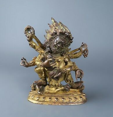 18th C. Gilt Bronze Figure of Mahakala Shadbhuja