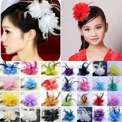 Feather Pearl Corsage Hair Clip Wedding Party Brooch Hairpin Flower Fascinator