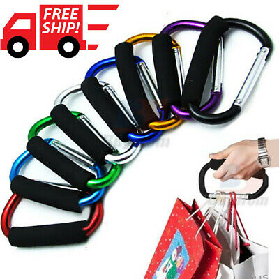 2x CARRY CLIP BUGGY CLIPS COLOURED LARGE PRAM PUSHCHAIR SHOPPING BAG HOOK MUMMY