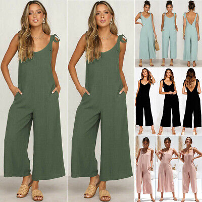 Boho Womens Solid Holiday Long Playsuits Dress Summer Beach Jumpsuit Plus Size