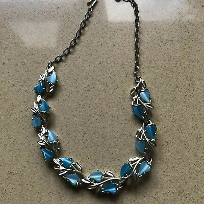 Vintage Retro Blue Necklace Silver Metal Set Chain Quality Costume Jewellery Box