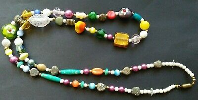 Handmade Necklace Mixed Vintage Beads Venetian/Murano Glass, Milk and Resin