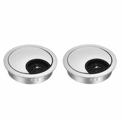"Cable Hole Cover, 2-1/8"" Zinc Alloy Desk Grommet, 2 Pcs (Silver Tone)"