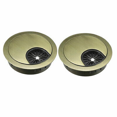 "Cable Hole Cover, 2"" Zinc Alloy Desk Grommet, 2 Pcs (Bronze Tone)"