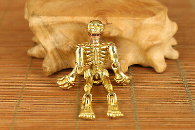 Chinese old brass hand carved human skeleton pendant netsuke