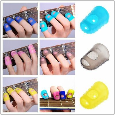 UK 4 Finger Picks Protector Silicone Rubber Thumb Fingertip For Ukulele Guitar