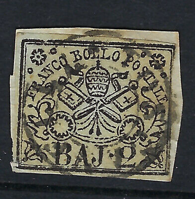 PAPAL STATES (Italy) :1858 2b white imperforate SG14 used on piece