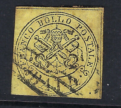 PAPAL STATES (Italy) :1858 4b black on yellow   SG19 used