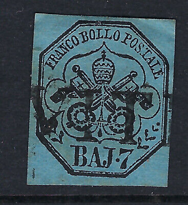 PAPAL STATES (Italy) :1858 7b black on blue   SG25 used