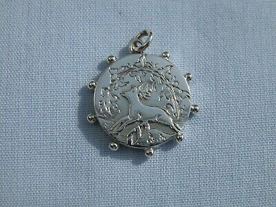 Stunning Victorian Style Round Solid Sterling Silver Leaping Stag Pendant