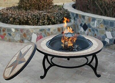 THE SALTILLO Garden Fire Pit & BBQ, Mosaic Tile Table - Outdoor Barbeque Firepit