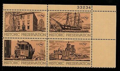 ALLY'S STAMPS US Plate Block Scott #1440 8c Historic Preservation MNH [4] [STK]