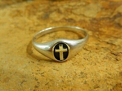 *VINTAGE*  925 Sterling Silver Christian Jesus Cross  Crucifix Ring Size: 12