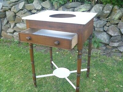 vintage mahogany and painted victorian wash stand with drawer