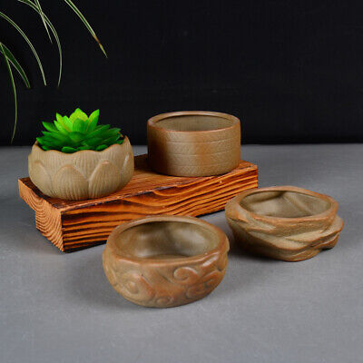 Mini Ceramics Chinese Style Bonsai Flower Pot Round For Succulents Planter