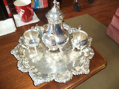 silver tea set with cream & sugar & tray  viking ep brass silver plated . old an