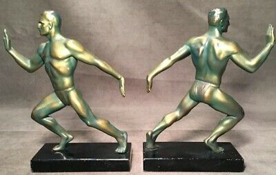 Art Deco Frankart Era Painted Spelter Metal Bookends Nude Naked Men Pushing