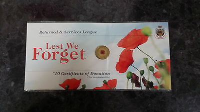 2012 Red Poppy Remembrance Day $2 Coin, UNC. Original RSL Card