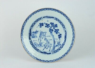 An Antique 18th c. Chinese Porcelain Blue White Qianlong Deer and Linghzi dish