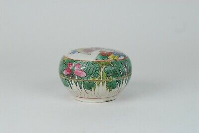 A Fine Antique 19th c Chinese Porcelain Covered Cabbage Leaf Jar with figurines