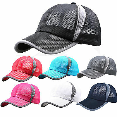 Mens Womens Baseball Cap Golf Sports Summer Visor Mesh Breathable Curved Sun Hat