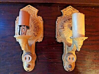 Pair of Cast Iron Wall Sconces w/Outlets & Built-In Switches