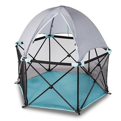 Playard with Full Canopy Summer Infant Pop n Play Deluxe Portable Indoor Outdoor