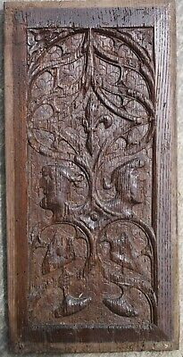 RARE EARLY 16th CENTURY PORTRAIT,GOTHIC TRACERY PANEL, Medieval Carving