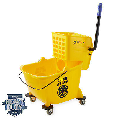 26 Quart Commercial Mop Bucket with Side Press Wringer, Yellow