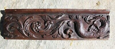 17th Century CARVED OAK PANEL of a DRAGON FLEMISH Gothic carving