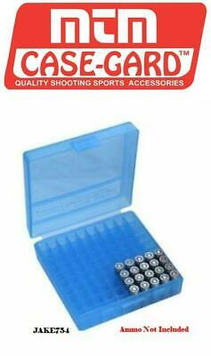 MTM 380/9MM CAL 100 Round Flip-Top Ammo Box Clear Blue # P-100-9-24