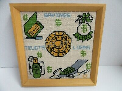 Finished Needlepoint Savings Trusts Loans Banking Completed Framed 11x11 Retro