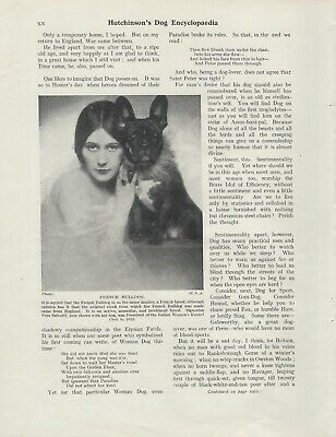French Bulldog Old Vintage 1934 Print Italian Lady And Her Dog