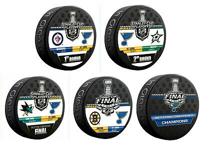 ST. LOUIS BLUES 2019 Stanley Cup Playoffs 5 PUCKS Dueling & Western Champs Puck