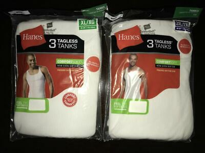 Hanes Mens 3 Pack White ComfortSoft Tank Top Undershirt All Sizes