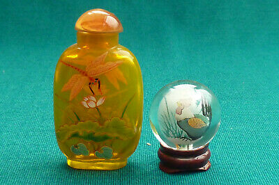 Lovely Chinese/Japanese Hand Painted Ball & Snuff Bottle