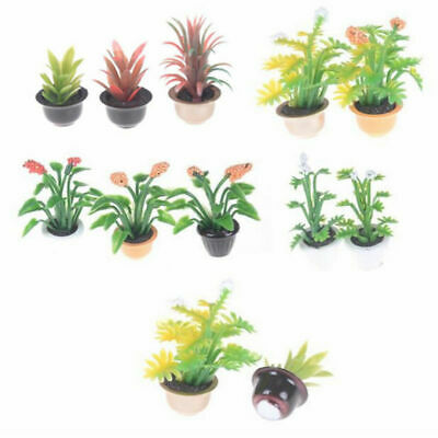 2 pezzi 1//12 Green Plant In Pot Dollhouse Miniature Garden Accessori