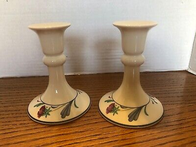 Lenox Chinastone Poppies On Blue Candlestick Candle Holders