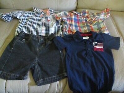Lot of 4 pc Infant Boy 6-9 Mo US Polo Assn Shorts & Shirt/Children's Place Shirt