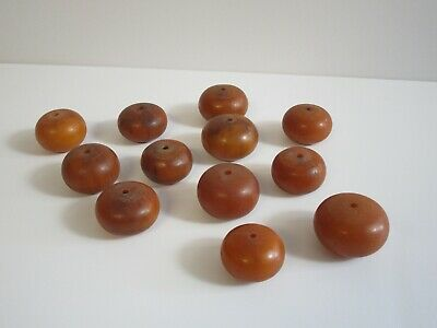 Vintage Antique Bakelite Beads Large Chunky Amber Tone Swirl Sculpture Lot Of 12
