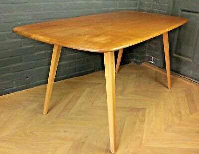 Mid Century Ercol Elm & Beech Plank Dining Table Kitchen Table ~ Model 382