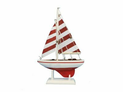"""Red Striped Pacific Sailer 9"""" - Wood Sailboat Centerpiece - Scale Model Ship - W"""