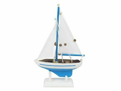 "Wooden Light Blue Pacific Sailer Model Sailboat Decoration 9"" - Nautical Decor -"